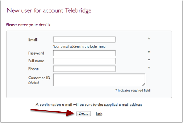 new user for account telebridge